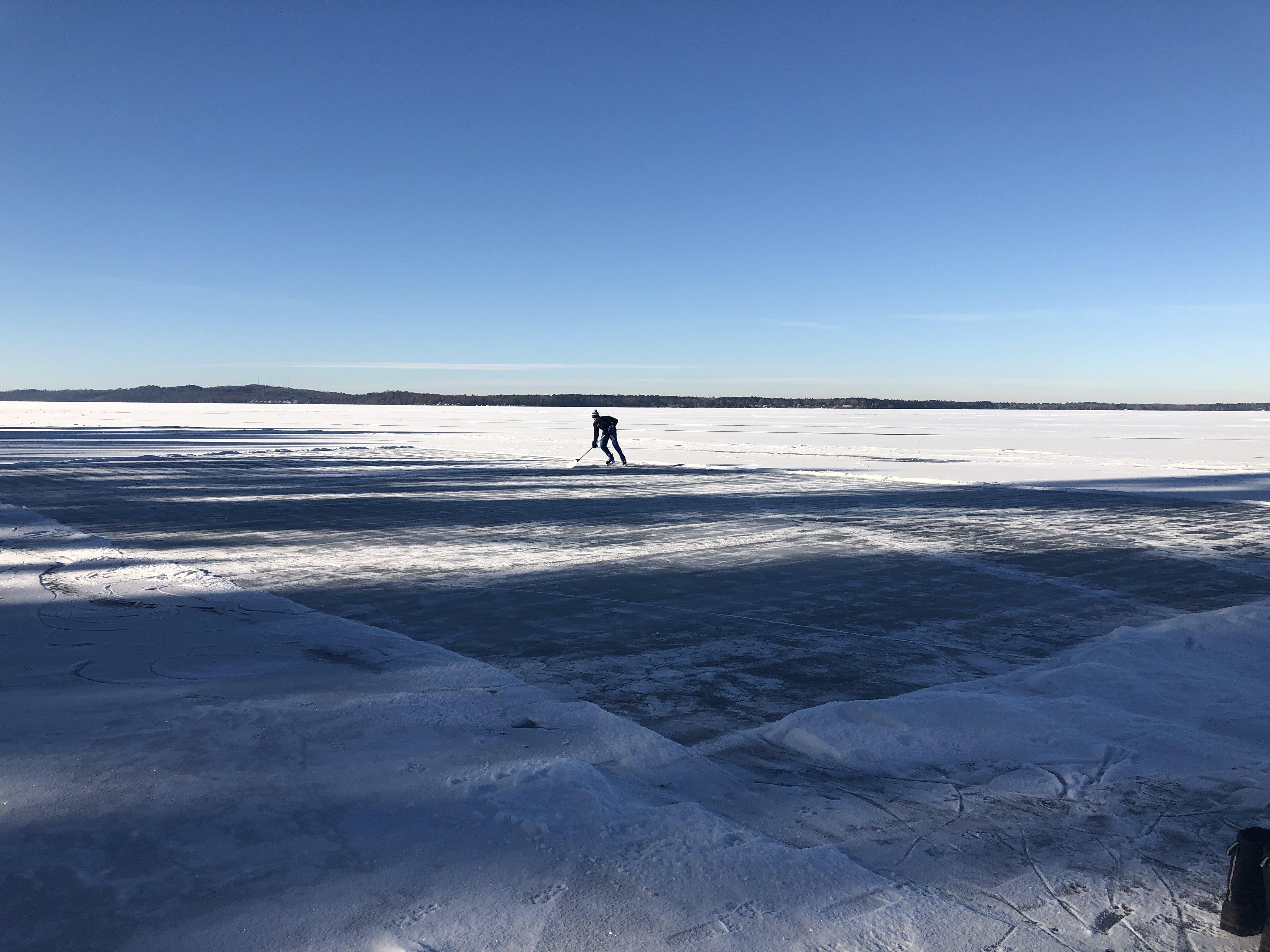 Enjoying a beautiful winter day on the lake.