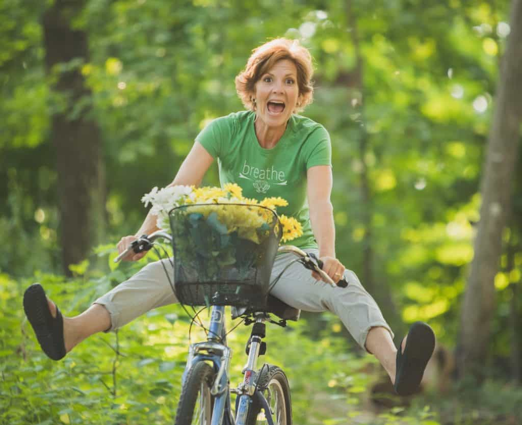 Jackie Bye on Her Bicycle